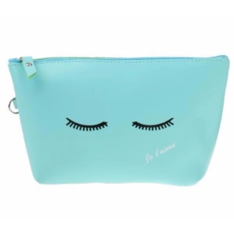 Lips Pouch Tas Dompet Lucu Tempat Kosmetik Make Up Stationary Purse - MATA TUTUP BIRU