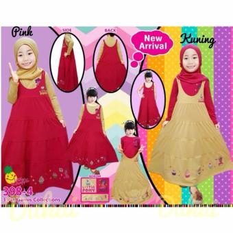Little Pineapple 3in1 Gamis Hijab Overall Dress Little Pony Pinky3-8Y