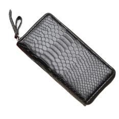 Long Snake Leather Purse / Handbag Organizer Wallet Zippered Cluth Card Holder (Black)