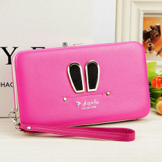 Long Style Mobile Phone Bag Rubbits Ears Lady Wallet Rose - Intl
