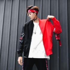 Longgar Korea Fashion Style Pria Musim Semi dan Musim Gugur perlindungan matahari jaket (Hitam dan merah)
