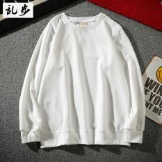 Longgar Korea Fashion Style warna solid untuk pria dan wanita leher bulat sweater bottoming kemeja (