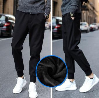 Longgar Tambah Beludru Laki-laki Lebih Tebal Celana Panjang Celana Pria (Tali Kulit Tambah