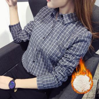 LOOESN Korea Fashion Style ditambah beludru wanita bottoming kemeja kotak-kotak baju kemeja (Biru