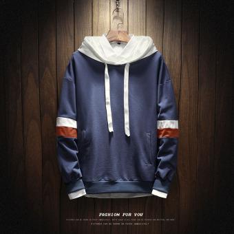 LOOESN Korea Fashion Style laki-laki berkerudung musim gugur sweater hoodie (W17119 biru)