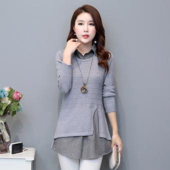 LOOESN Korea Fashion Style musim semi dan musim gugur baru bagian panjang sweater sweater ((