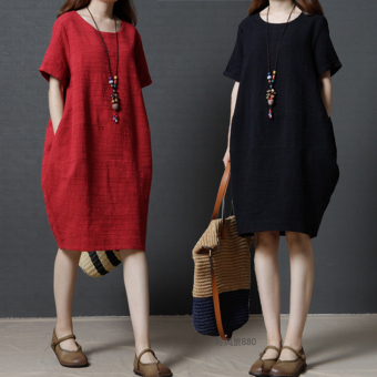 LOOESN Korean-style cotton linen solid color Plus-sized dress medium-length dress (Merah)