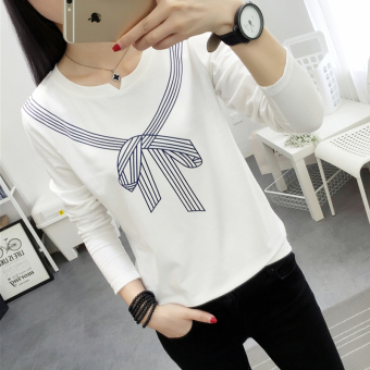 LOOESN Korean-style Spring and Autumn New style Cooljie base shirt T-shirt (Putih)