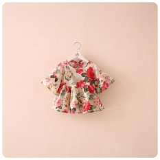 Lovely Toddler Kid Girls Blouse Floral Printed Flounced Casual Summer Ruffled Sleeve Blouses Tops - intl
