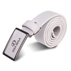 Luxury Men's Classic Buckle Automatic Waistband Leather Casual Genuine Belt White