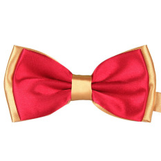 Male Double Color Marriage Bow Ties Red + Gold