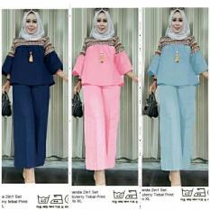 mandalo batik setelan hijab muslimah XL blouse batik celana kulot XL
