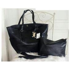 Mango Alligator Effect Shopper Shoulder Handbag (Black)