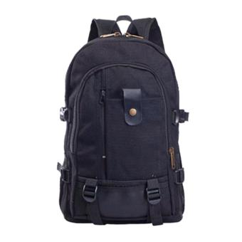 Marlow Jean Tas Ransel Pria Casual Canvas Shoulder Travel Bag Backpack - Hitam