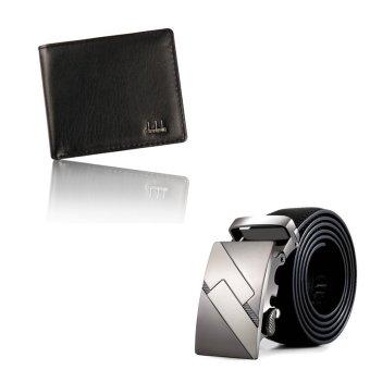 Men Bifold Business Leather Wallet ID Credit Card Holder Purse Pockets AndAutomatic Buckle Belt Set Black