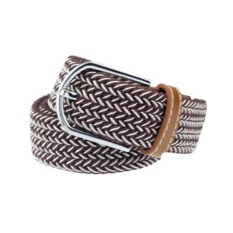 Men Casual Canvas Belt Elastic Rubber Concise Belt Metal Buckle Belt Brown