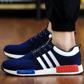 Men Casual Shoes Mens Trainers Breathable Flats Walking Shoes Fashion Shoes Male (Blue)