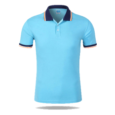 Men Casual Sports Color Blocking Button Short Sleeve Polo Shirt (BL-DBL) - Intl