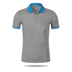 Men Casual Sports Color Blocking Button Short Sleeve Polo Shirt (GR-BL) - Intl
