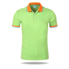 Men Casual Sports Color Blocking Button Short Sleeve Polo Shirt (LG-O) - Intl