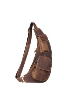 Men Crescent Retro Leather Chest Pack Package Messenger Crossbody Bag