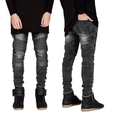 Men Denim Straight Slim Fit Biker Jeans Pant (Light Gray) - Intl