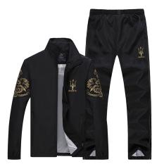 Men Embroidery Leisure Sports Suit Black