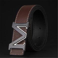 Men Fashion Style M Letter Buckle Belt MBTP1644-2 Coffee