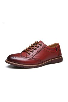 Men Genuine Leather Vintage Oxford Shoes (Red Brown)