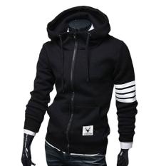 Men Hedge Striped Stitching Sweater Big Pockets Sports Sweatshirts Black