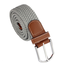 Men Leather Braided Elastic Stretch Metal Buckle Belt Waistband Gray