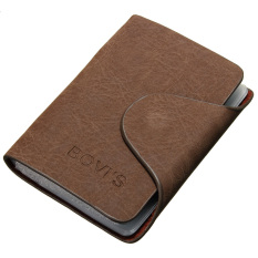 Men Leather Business Credit Card Case ID Pocket Mini Wallet Holder Bag 20 Slots Light Coffee - Intl