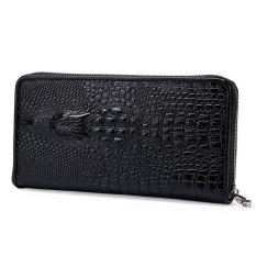 Men Leather Wallets Aligator Handy Bags Coin Purse Monederos Carteras Hombre Mens Wallets Man Clutch Bags (Size:S)
