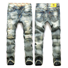 Men Printed Hole Denim Slim Straight Vintage Jeans Grey (Intl)