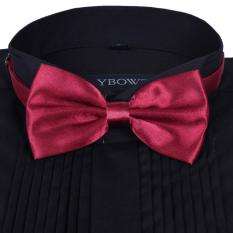 Men Satin Bow Tie Dickie Bow Pre-Tied Wedding Tuxedo Tie Necktie Dark Red B