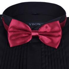 Men Satin Bow Tie Dickie Bow Pre-Tied Wedding Tuxedo Tie Necktie Dark Red B