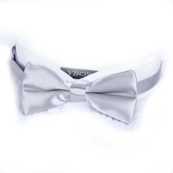 Men Satin Bow Tie Dickie Bow Pre-Tied Wedding Tuxedo Tie Necktie Silver Gray A
