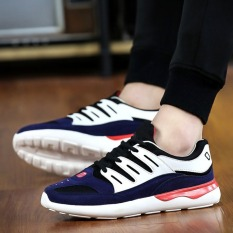 Men Shoes Casual Lace Up Men Flat Shoes Low Breathable Classic Sport Shoes Men (Blue)