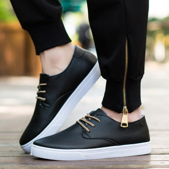 Men Shoes Casual PU Leather Lace Up Flat With Black Blue Business Men Shoes