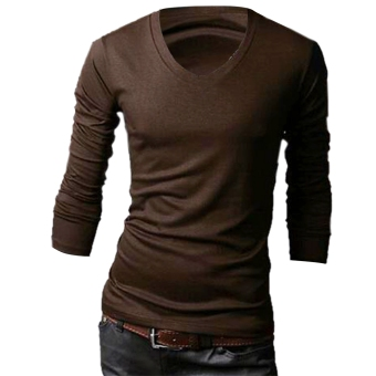 Men Slim Fit Solid Color Stylish V Neck Long Sleeve T-shirts Tee Tops M / L / XL / XXL - Intl