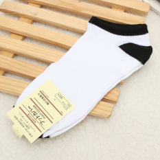 6 Pairs Men Soft Liner Cotton Sports Short Striped Socks Ankle Calf Toe Hosiery White