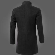 Men Solid Color Warm Slim Fit Lapel Wool Coat Black