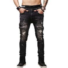 Men Vintage Cotton Denim Skinny Biker Jeans (Black)