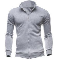 Men Warm Zipper Coat Jacket Slim Fit Casual Sleeve Outwear (Light Gray) (Intl)