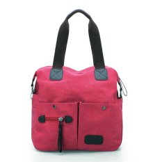 Men Women Pillow Vintage Canvas Bag Shoulder Messenger Handbag Pink