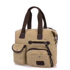 Men Women Vintage Canvas Bag Shoulder Messenger Handbag Beige - Intl