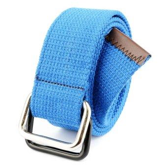 Men&Women Bicyclic Buckle Woven Canvas Belt Waist Belt (Blue)