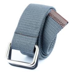 Men&Women Bicyclic Buckle Woven Canvas Belt Waist Belt (Dark Grey)