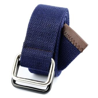 Men&Women Bicyclic Buckle Woven Canvas Belt Waist Belt (Royal Blue)