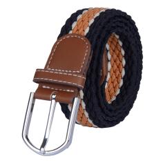Men&Women Elastic Woven Casual Belt Canvas Waist Belt (Brown)